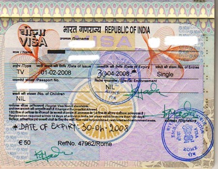 Visado para viajar a india